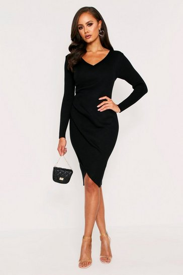 Womens Black Wrap front rib knit jumper dress