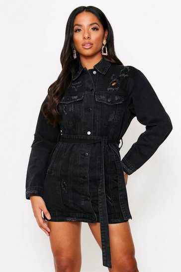 Womens Black Distressed Belted Denim Dress