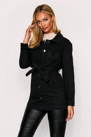Womens Black Belted oversized denim jacket