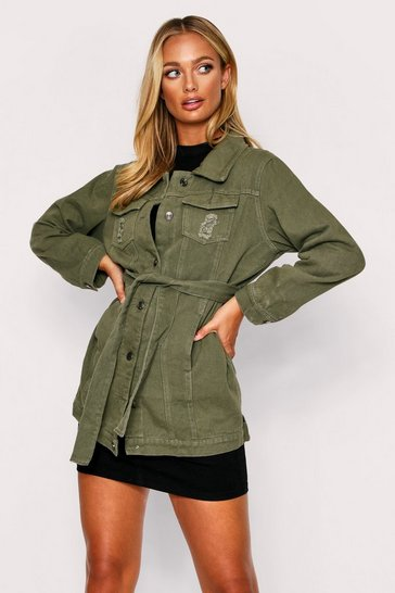 Womens Khaki Belted oversized denim jacket