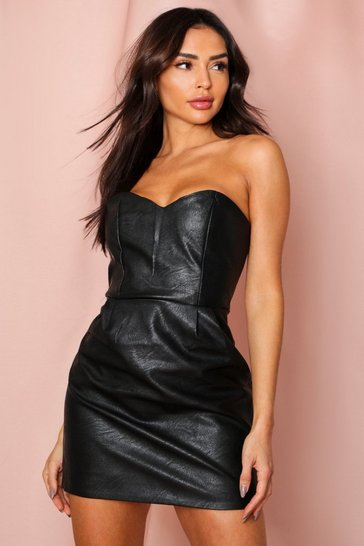 Black Pu bandeau mini dress