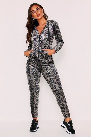 Brown Velvet Snake Print Loungewear Set