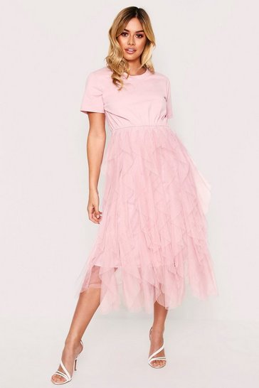 Womens Pink Mesh Layer T-shirt Dress with Skirt
