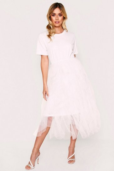 Womens White Mesh Layer T-shirt Dress with Skirt