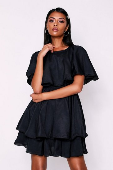 Womens Black Ruffle Dress Bardot