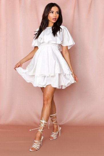Womens White Ruffle Dress Bardot
