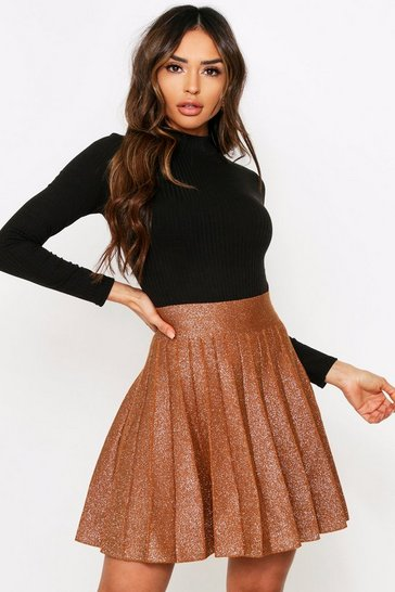 Brown Glitter Skater Skirt