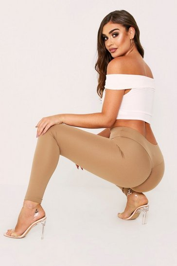 Womens Stone Bum Ruched Leggings