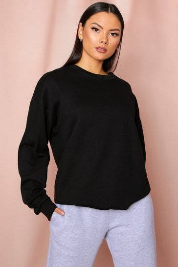 Womens Black Oversized Casual Cropped Fleece Sweater