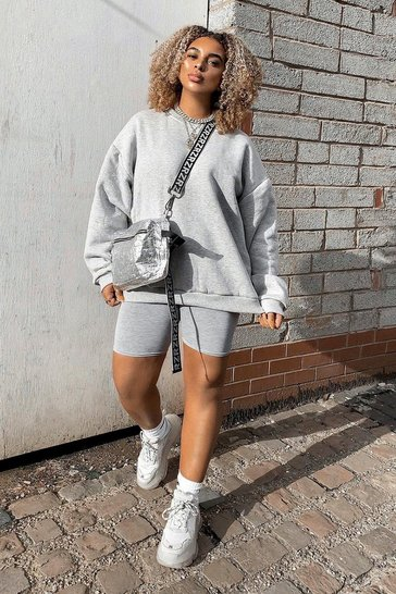 Womens Grey marl Oversized Casual Cropped Fleece Sweater
