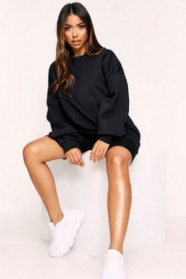 Womens Black Oversized Casual Fleece Sweater