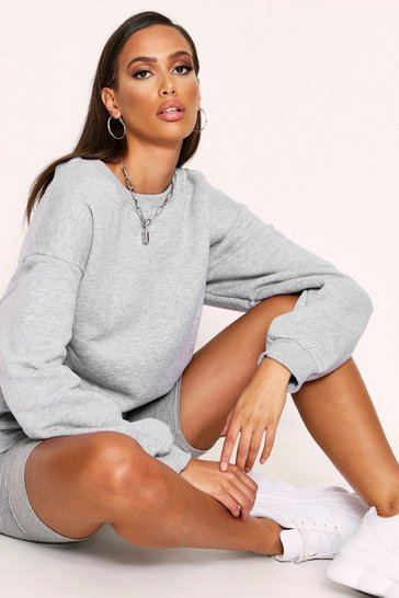 Womens Grey marl Oversized Casual Fleece Sweater