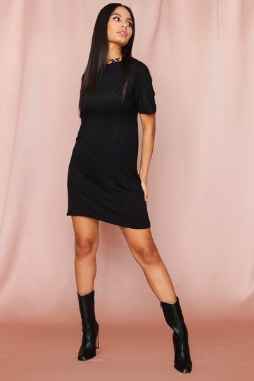 Womens Black Leopard Ringer T-Shirt Dress