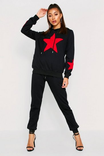 Womens Black Star Towelling Tracksuit
