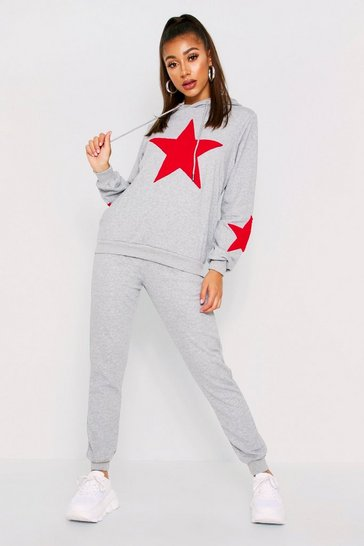 Womens Grey Star Towelling Tracksuit
