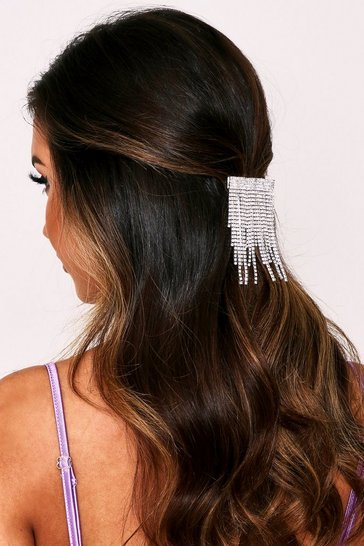 Womens Silver Diamante Drop Tassel Hair Slide