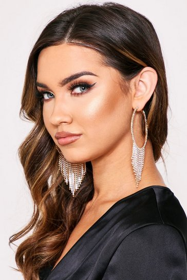 Womens Gold Diamante Tassel Hoop Earrings