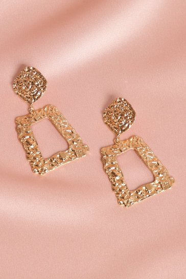Womens Gold Embellished Metal Statement Earrings