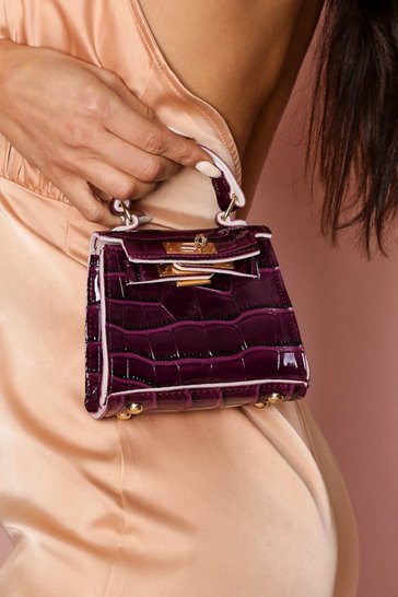 Womens Purple Croc Textured Patent Mini Bag