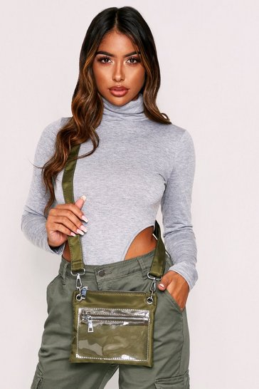 Womens Khaki Clear Pocket Cross Body Bag