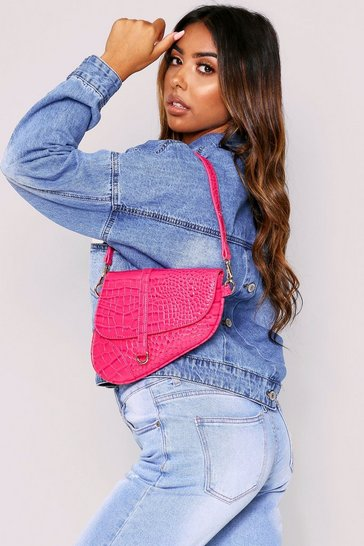 Womens Fuchsia Croc Textured Cross Body Bag