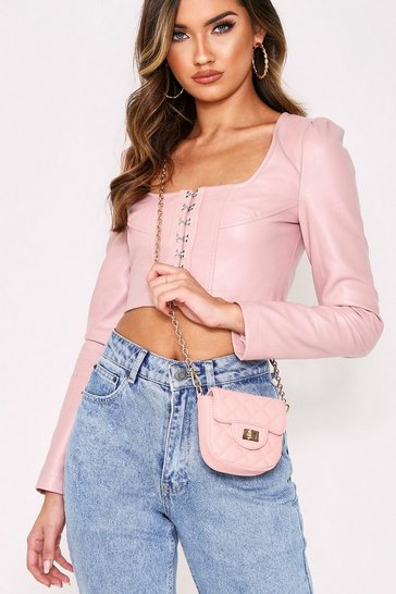 Womens Blush Quilted PU Chain Strap Mini Bag