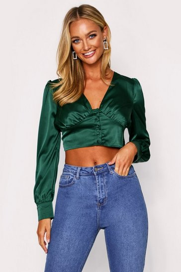 Emerald Button Front Puff Sleeve Satin Top
