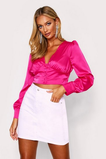 Womens Fuchsia Button Front Puff Sleeve Satin Top