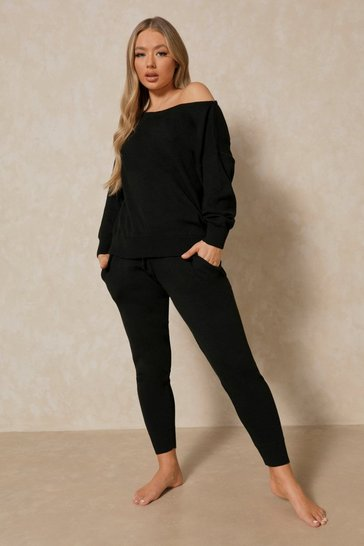 Black Basic Slash Neck Knitted Lounge Set