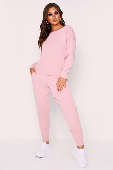Womens Blush Basic Slash Neck Knitted Lounge Set