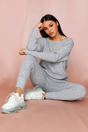 Womens Grey marl Basic Slash Neck Knitted Lounge Set