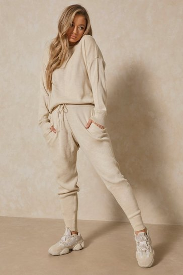Stone Slash Neck Knitted Lounge Set