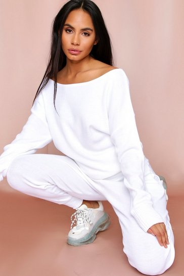 White Slash Neck Knitted Lounge Set