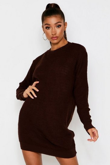 Womens Brown Basic Waffle Knit Jumper Dress