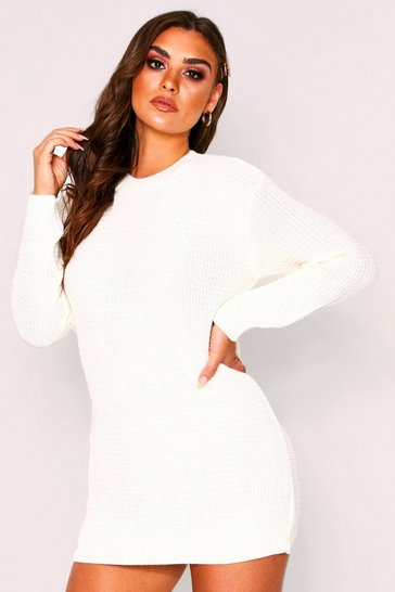Cream Basic Waffle Knit Jumper Dress