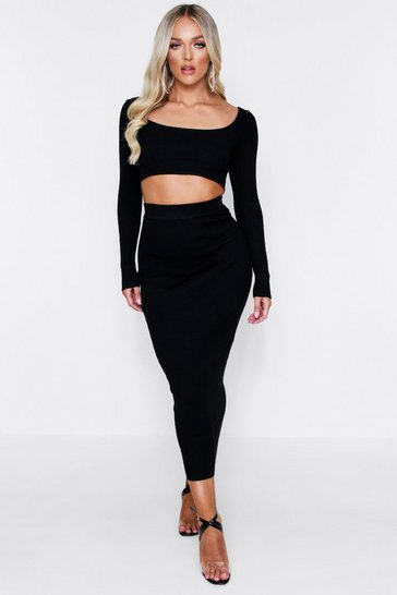 Black Long Sleeve Rib Knit Midi Skirt Co-Ord