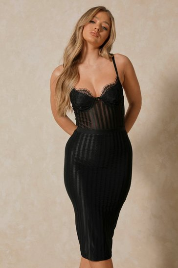 Black Cup Detail Mesh Bodycon Midi Dress