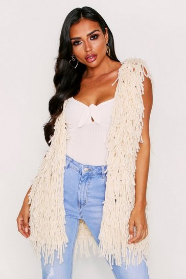 Womens Cream Shaggy Fringed Gilet