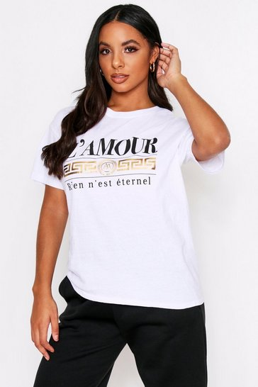 Womens White L'Amour Foil T-Shirt