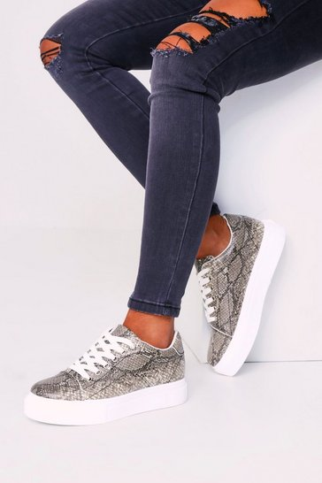 Womens White Snake Lace Flatforms