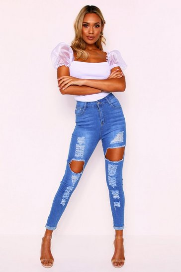 Womens Mid blue Skinny Extreme Rip Jean