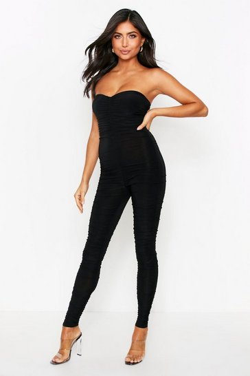 Womens Black Ruched Leg Bandeau Jumpsuit