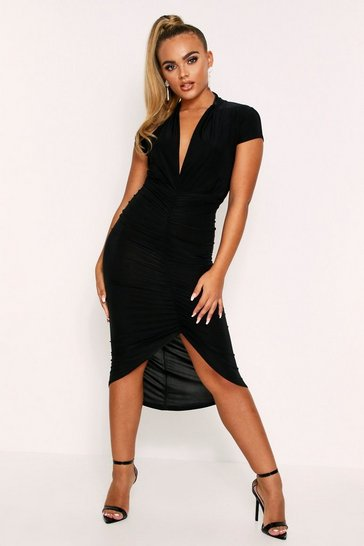 Womens Black Plunge Ruched Midi Dress