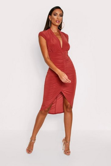 Womens Rust Plunge Ruched Midi Dress
