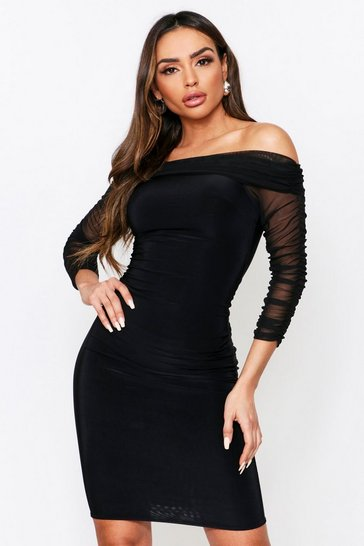 Womens Black Bardot Ruched Mesh Midi Dress