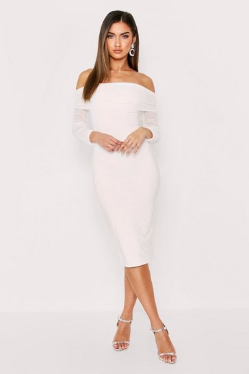 White Bardot Ruched Mesh Midi Dress
