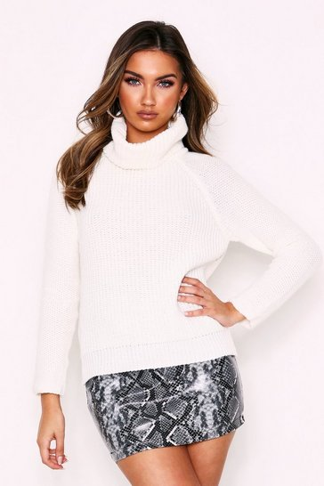 Cream Roll Neck Longline Knit Jumper