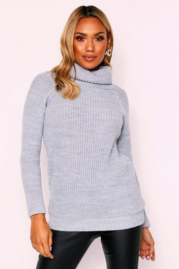 Grey Roll Neck Longline Knit Jumper