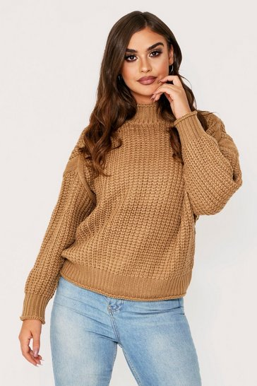 Camel knitted fisherman knot high neck jumper