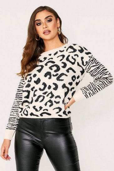 Womens Cream  leopard jacquard knit jumper